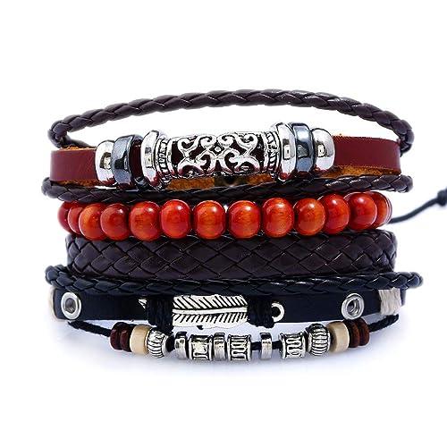 capture haut de gamme authentique très convoité gamme de Buy Mens Genuine Leather Bracelet,Mix 4 Soft Wristband ...