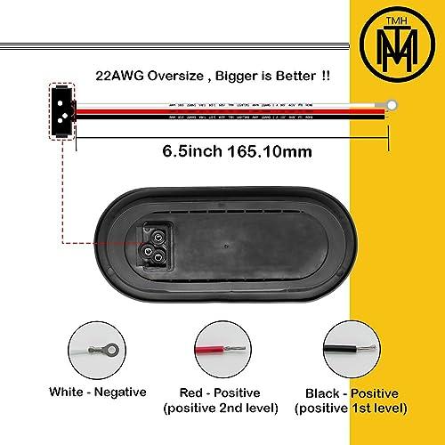 TMH Pack of 2 6 10 LED Oval Flush Mount Amber Stop Turn Signal Brake Marker Tail LED Light for Truck Trailer RV Bus 12V Rubber Grommet /& Plug Included