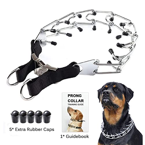 Dog Ultra-Plus training collar pet metal steel prong pinch choke with Latch