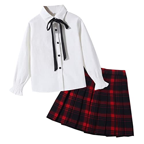2-13 Years Shirt with Bowtie /& Pleated Skirt SANGTREE Girls Outfit
