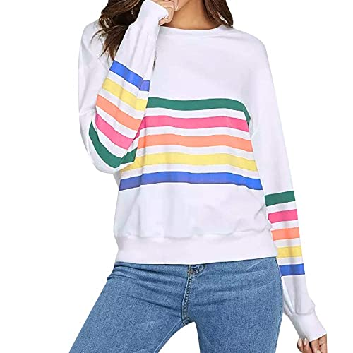 Rambling Womens Sweatshirt Pullover Striped Rainbow Color Long Sleeve Round Neck Casuel Blouse