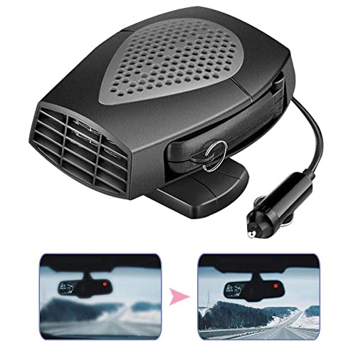 Volwco Portable Car Heater Defroster,2019 Upgraded 12V 150W Plug In Car Heaters Windshield Defogger Defroster,30S Fast Heating,Low Noise,360-degree Rotation