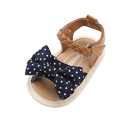 Sabe Summer Infant Baby Girls Sandals Striped Bowknot Soft Rubber Sole First Walker Shoes