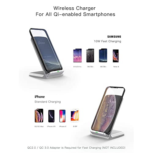 Qi Certified Wireless Charging Stand Compatible with iPhone Xs MAX//XR//XS//X//8//8 Plus 5W All Qi-Enabled Phones No AC Adapter 10W for Galaxy Note 9//S9//S9 Plus//Note 8//S8 Seneo 014 Wireless Charger