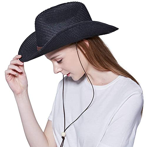 Straw Cowboy Hat,Summer Beach Panama Sun Hats Men /& Women Western Wide Curved Brim Fedora with Adjustable Chin Strap UPF50+