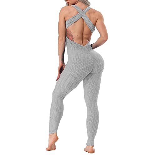 Starbild Sports Bodycon Jumpsuits Women Low Cut Jumpsuit Playsuit For Ladies Ruched Butt Lift Leggings Textured Anti Cellulite Compression One Piece Rompers Sexy Clubwear Buy Products Online With Ubuy Kuwait In Affordable