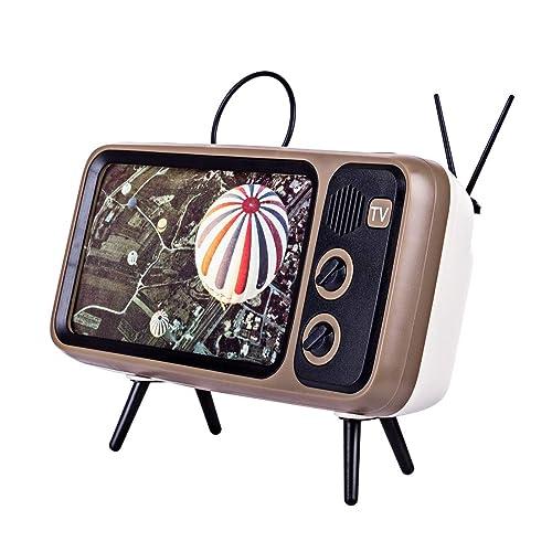 Retro TV Bluetooth Speaker,Portable Bluetooth Wireless Speakers Holder,AUX FM Bluetooth Optional,Bluetooth 4.2,32.8ft Wireless Rang,3D Stereo Speaker Stand for All Smartphone
