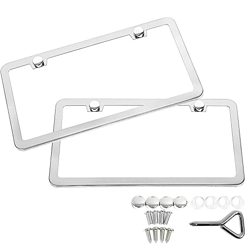OrionMotorTech 2-Piece Polished Stainless Steel License Plate Frame Chrome 21pcs Screw Caps Included License Plate Cover