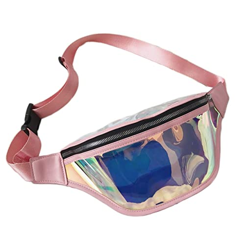 iSPECLE Holographic Waist Bag for Rave Concert Party Women Men Gold Fanny Pack
