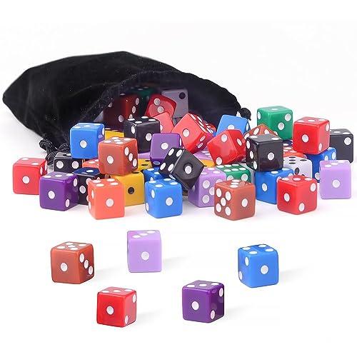 Bunco or Teaching Math 5 Colors Square Corner Dice with Free Storage Bag Play Games like Tenzi Farkle Yahtzee AUSTOR 50 Pieces Game Dice Set