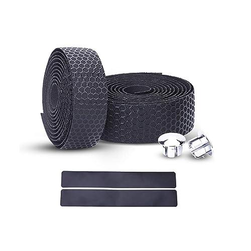 2 Bar Plug Black KW 2X Bike Cycling Road Bike Carbon Fiber Handlebar Tape Wrap