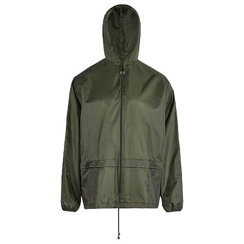 Adults Long Plain Waterproof Rain Coat Cagoule Trench Mac Kagool Concealed Hood