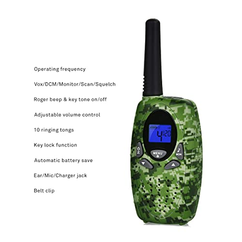 iRaddy KD10 Kids Walkie Talkies Toys for 3-12 Years Old Boys Girls 2 Pack Pre-Kindergarten Toys Christmas Birthday Gift with Batteries