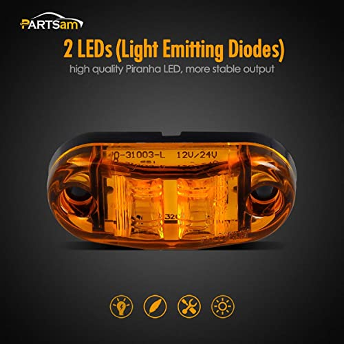 IP67 Waterproof DOT Certified 2 Amber and 2 Red, 12V 4Pcs 2 LED Side Marker Light 2.5 Oval Trailer Truck Clearance Light Surface Mount Little Boat Marine Led Lights RV Camper Accessories