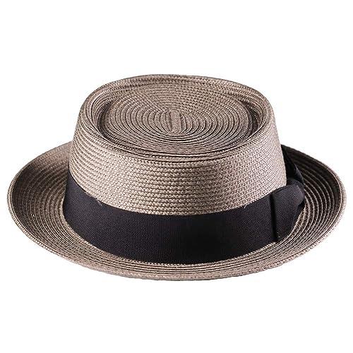 Pork Pie Hat-100/% Wool Felt Men/'s Porkpie Hats Flat Mens Fedora Top Classic