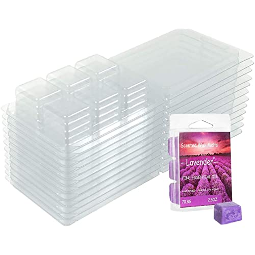 YIH 150 Packs Wax Melt Clamshells Molds Square 6 Cavity Clear Plastic Cube Tray for Candle-Making /& Soap