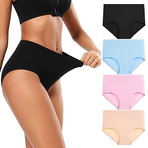 MISSWHO Womens Cotton Underwear Ladies High Rise Panties Woman Comfort Soft Briefs for Female Multipack