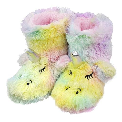 ZaYang Girls Cute Unicorn Slippers Toddler Kids Soft Warm Plush Fleece Winter House Slip-on Shoes