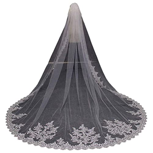 Faithclover Wedding Veils Ivory 1 Tier Cathedral Lace Edge with Appliques with Comb