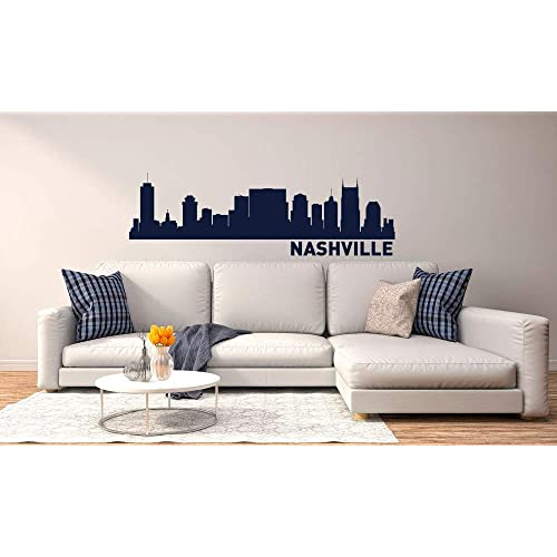 Nashville Skyline Vinyl Wall Decal Decor City Silhouette Vinyl Sticker Nashville Cityscape Vinyl Wall Art Decal Decor For Office Home Interior Decor Ideas Made In Usa Buy Products Online With