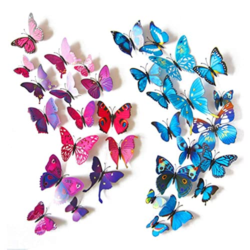 Buy Hakday 24 Pcs 3d Butterfly Wall Stickers Crafts Butterflies Diy Art Decor Home Room Decorations 12 Pcs For Blue And 12 Pcs For Purple Online In Kuwait B017txhqi4