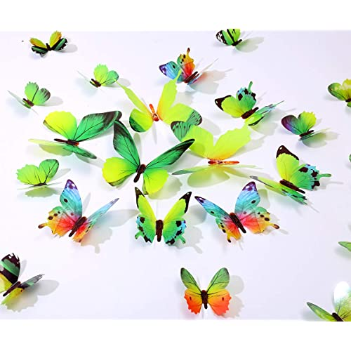 Kakuu 36pcs Butterfly Wall Decals 3d Butterflies Wall Stickers Removable Mural Decor Wall Stickers Decals Wall Decor Home Decor Kids Room Bedroom Decor Living Room Decor Green Buy Products Online With