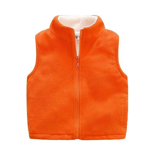 Midudu Boy Vest Fleece Solid Thickened Winter Zipper Sleeveless Jacket Outwear