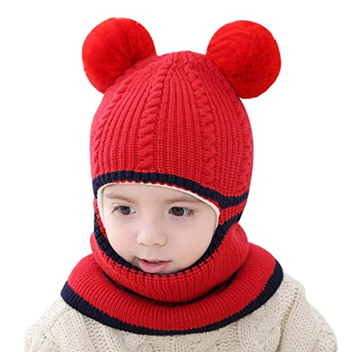 Tacobear Kids Pom Beanie Hat and Scarf Set Winter Warm Cable Knit Earflap Hat Circle Loop Scarf Neck Warmer Fleece Lined Outdoor Ski Snowboard for Boys and Girls