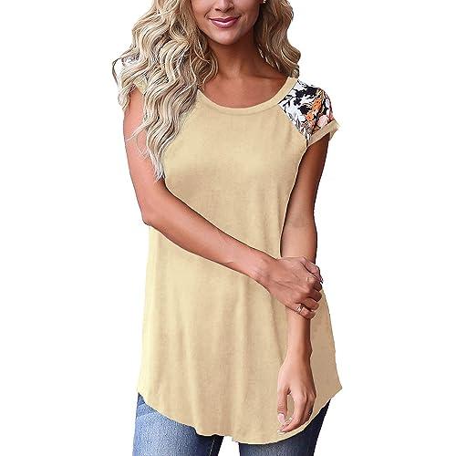 Cosonsen Womens Tassel Short Sleeve Round Neck T-Shirt Top Casual Summer Tee