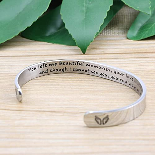 WUSUANED Remember I Love You Mom Hair Tie Grooved Cuff Bangle Bracelet Birthday Gift for Mother