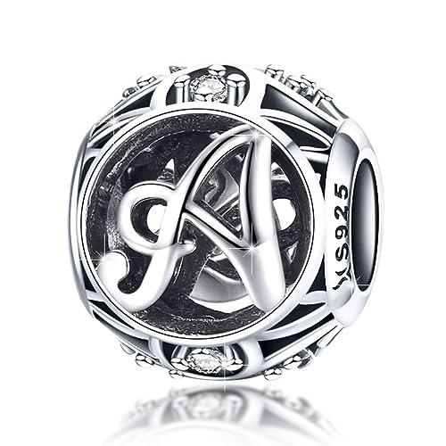 Everbling Alphabet 26 Letters A-Z Dangle 925 Sterling Silver Bead Fits European Charm Bracelet