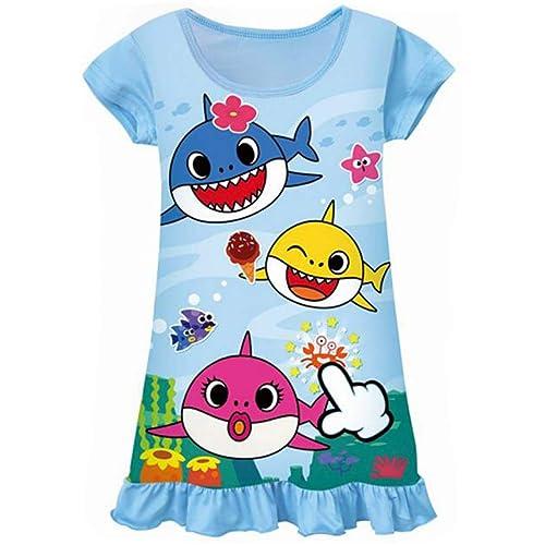 KIDHF Toddler Girl Baby Princess Coat Shark Cartoon Print Coat