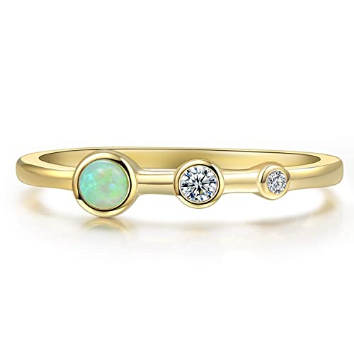 Blossom /& Hue Minimalist Opal Stacking Ring Pear Shaped Gold Opal Ring