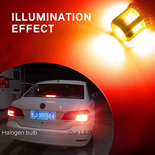 OXILAM 3157 LED Bulbs Brake Lights 2800 Lumens Extremely Bright 4157 3157A 3057 3156 LED Bulbs for Tail Lights Brake Lights Brilliant Red 2 PACK