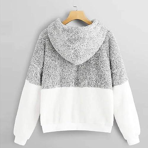 Milumia Womens Fuzzy Fleece High Neck Half Zip Pullover Teddy Warm Outwear Crop Sweatshirts Top