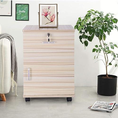 Elogoog New Locking File Cabinet Wood File Cabinets Bedroom Storage Cabinet Mobile Filing Cabinets Wheels Drawer Rolling Filing Cabinet White