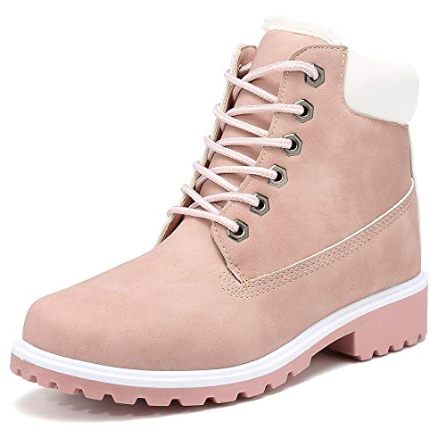 DADAWEN Women Fashion Leather Waterproof Ankle Bootie Casual Lace Up Short Combat Boots for Girls