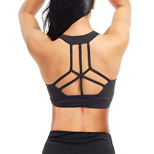 Yaavii Women Sports Bra Padded Mid Impact Yoga Bras Unique Cross Back Strappy for Gym Exercise Fitness
