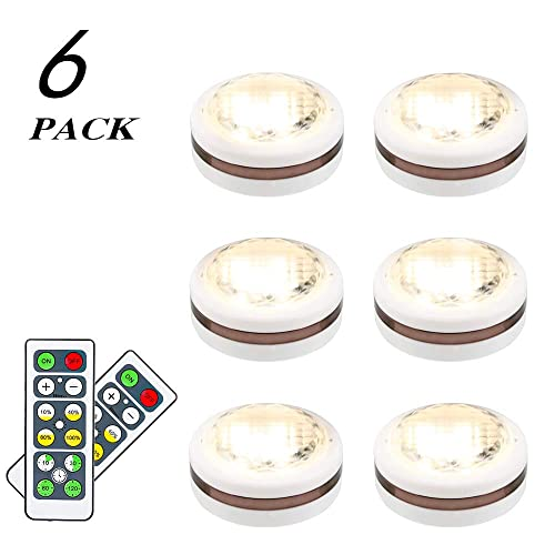 Leastyle Wireless Led Puck Lights With Remote Control 6 Pack Led Under Cabinet Lighting Puck Lights Battery Operated Closet Light Under Counter