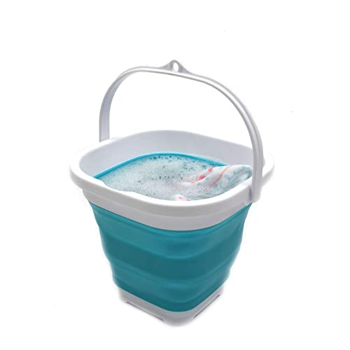 Portable Folding Bucket Wash Basin for Traveling Hiking Fishing Boating Gardening-Blue GoldPaddy Collapsible Bucket,Camping Water Storage Container 5 Gallon 20L