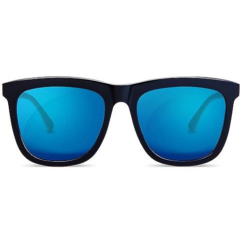 9151c19f5 MUJOSH Womens Mens Sunglasses, Oversized Mirrored HD Polarized Sunglasses,  100% UVA UVB Protection
