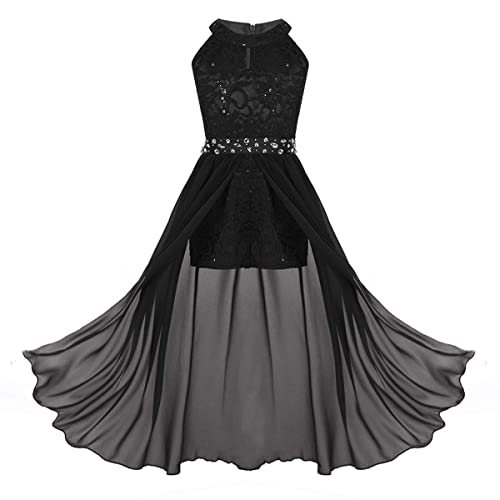 CHICTRY Kids Girls Halter Neck Chiffon Lace Long Party Junior Wedding Evening Dance Prom Maxi Gown Dress