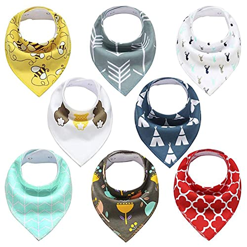 Cute Baby Gift for Boys /& Girls 8- Pack Baby Bandana Drool Bibs for Drooling and Teething 100/% Organic Cotton and Fleece Unisex super absorbent Organic Cotton Toddler Baby Shower gift