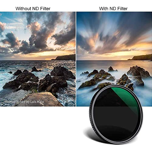 16 Layers Slim Japan Optical Glass Nano Coating ND Filter for Camera Lens with 52mm Filter Thread 52mm ND2-400 Neutral Density Filter Variable ND Fader Filter with Micro Fiber Cleaning Cloth