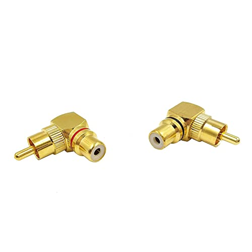 2X Brass RCA Right Angle Male To Female Gold Plated Connector 90 Degree Adapters