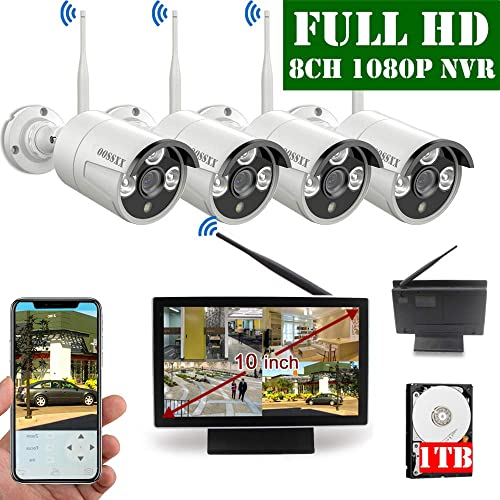 """Security Camera System 1080P POE Outdoor with 1TB Hard Drive 12/""""Monitor 8CH NVR"""