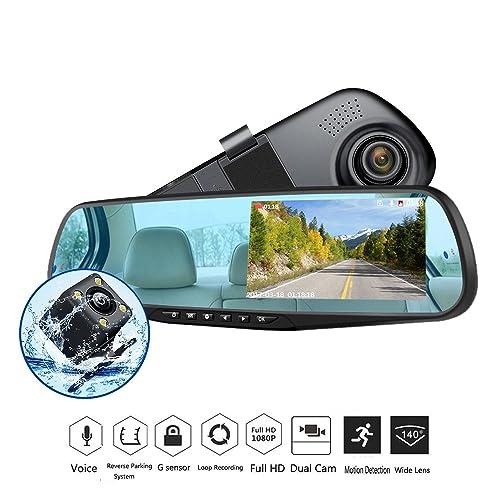 "TOGUARD 4.3/"" HD 1080P Mirror Dash Cam Dual Lens Car DVR Recorder Rearview Camera"