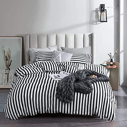 Classic Vertical Stripes Super Soft, Black And White Striped Bedding Queen