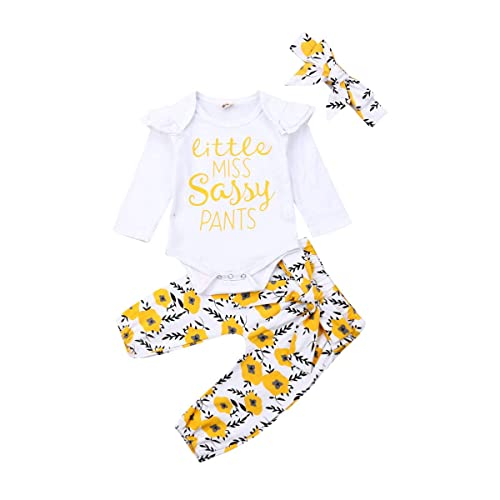 Thorn Tree Newborn Baby Girls Clothes Long Sleeve Romper Top Floral Pants Baby Headband Infant 3PCS Outfits Set