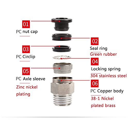 10 pcs Male Straight 6mm//0.24 Tube OD x 13mm//1//4BSP NPT Thread Push to Connect Fittings PC-6mm//0.24